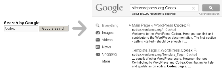 WordPress Search by Google plugin