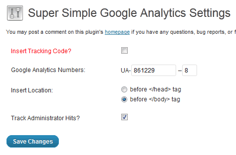 Super Simple Google Analytics Screenshot 1