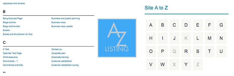 Banner for the Display your WordPress posts in a Rolodex-style listing with the A to Z Listing plugin plugin